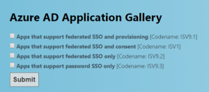 Azure AD Application Gallery